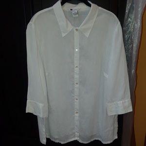 Carole Little Fine Linen Button Down Shirt 1X